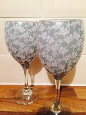 Set Of 2 Kirstie Allsopp Vintage Green Floral Decoupage Wine Glasses