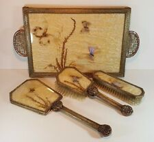VERY RARE ART DECO BRASS & COPPER BUTTERFLY WING VANITY SET, TRAY MIRROR BRUSHES