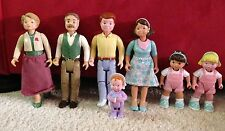 Lot of 7 Loving Family Dollhouse People Grandparents, Mom Dad Sisters Baby