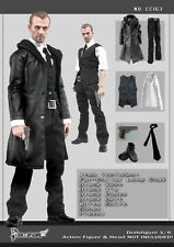 CC163  1/6 Clothing- Male Black Leather Men Suit Full set for HOT TOYS,ENTERBAY