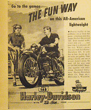 1953 Harley-Davidson Motorcycle~Motor Bike 165 Tele~Glide The Fun Way Trade Ad