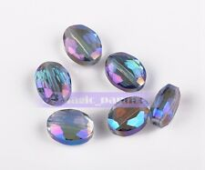 Flat Oval Faceted Crystal Glass Charms Loose Spacer Beads 12x9mm 16x12mm 20x16mm