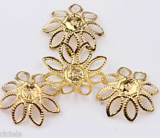 50Pcs High Quality Golden Color Filigree Flower Cone End Bead Caps Charms 20mm