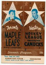 1962 Vancouver Canucks vs Toronto Maple Leafs WHL Program Signed Punch Imlach !