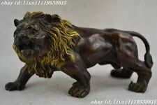Chinese manual sculpture gold-plated copper brave lion statues NO48