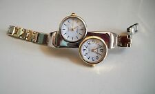 Silver & Gold finish metal band   dual time 2 time zone  fashion women's watch
