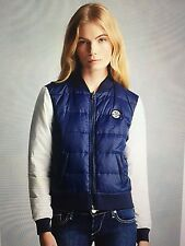 TRUE RELIGION WOMEN COLOR BLOCK REVERSABLE PUFFER JACKET ACE/ICE NWT M $399