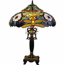 "ELEGANT TIFFANY VIBRANT COLORFUL 27""H DRAGONFLY TABLE LAMP LIGHT LIGHTS NEW"