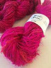 Sari silk yarn, handspun yarn, recycled yarn, knitting, pink. 5 yards
