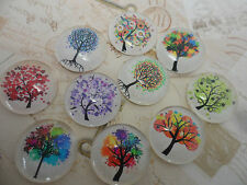 Set of 10 Arty Tree of Life Cabochons / beads 20mm for craft, jewellery supplies