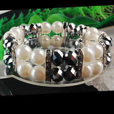 Pearl Crystal Faceted Beads Stretch Bracelet  J0626