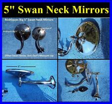 "5"" Swan Neck Rear View Mirrors Door Cowl Exterior Round Hot Rod Streetrod GM"