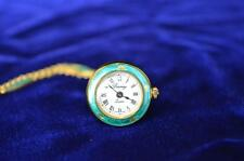 Berney Mini Green Enamel Bell Roses Pendant Watch w/Matching Chain Vintage