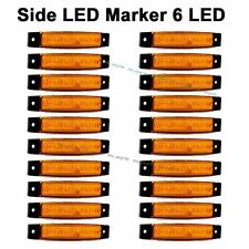 20pcs Orange Amber 12V 6 LED Side Marker Indicators Lights for Truck Trailer Bus