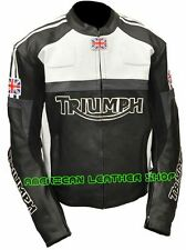 Men Gray N Black Color Triumph Flag Racing Motorcycle Leather Jacket Safety Pads