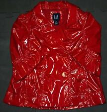 GAP KIDS XS 4/5 Little Girls Red Gold Raincoat Pleather Spring Jacket Trench EUC