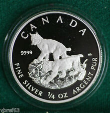 2005 CANADA $3 LYNX 1/4 oz proof finish 99.99% silver - outstanding coin