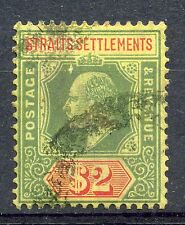 Weeda Straits Settlements 126 $2 green and red on yellow paper 1909 EDVII. CV$25