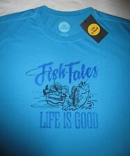 LIFE IS GOOD Fish Fishing Tales Boating Blue Mens SS T Shirt NWT NEW Sz L Large