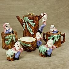 Tree Stump Gnome Old Man Dwarf Tea Pot Salt Pepper Sugar Creamer 9pc Set Japan