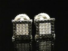 White Gold Finish Round Cut Black and White Diamond Square Stud Earrings 8 MM