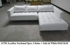 2PC Modern Contemporary white Leather Sectional Sofa #1701 (Short version)