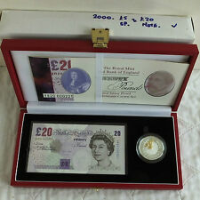 2000 MILLENNIUM £20 BANKNOTE + SILVER PROOF £5 CROWN SET - complete