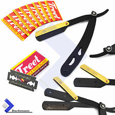 Straight Edge Barber Hair Shaving Razor Gold Hook Folding Knife + 10 Blades New