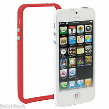 BUMPER ROSSA CUSTODIA IPHONE 5 A1428 / A1429 COVER TASTI CROMATI TOP ORIGINAL