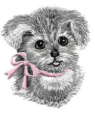 Dog - Puppy - Pet - W/Pink Bow - Embroidered Iron On Applique Patch