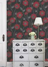 Debona - Wallpaper, Black w/ Red Flowers, Floral Leaf Design, BNIB Solaris 30993