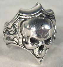 SHIELD SKULL HEAD BIKER RING mens jewelry BR260 silver rings SKELETON BIKER NEW