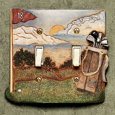 Game Rec Room Decor Golf Double Light Switchplate Cover
