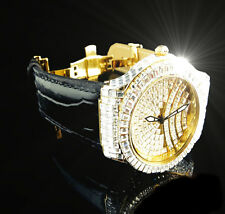 Yellow Baguette Set Men's New  Diamond Simulate Bling Master Luxury Dress Watch