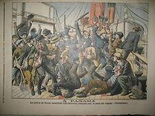 PANAMA VAPEUR VERSAILLES POLICE DE COLON ET OUVRIERS FRANCAIS PETIT JOURNAL 1905