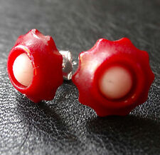 vintage 1930s art deco BAKELITE cherry red flower STERLING SILVER earrings -D474