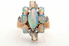 Vintage $2400 5ct Natural AAA+++ Opal VS G Diamond 14k Yellow Gold Ring HEAVY