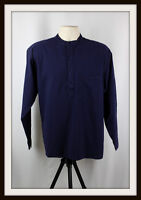NAVY BLUE COLLARLESS LONG SLEEVE GRANDAD SHIRT ~ 100% COTTON ~ S, M, L, XL, XXL