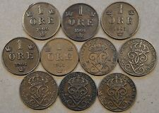 Sweden 10 One Ore 1900,01,03,04,05,09,10,11,13,+23 Mid-Better Grade as Pictured