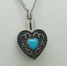TURQUOISE HEART URN NECKLACE TURQUOISE CREMATION JEWELRY MEMORIAL KEEPSAKE URNS