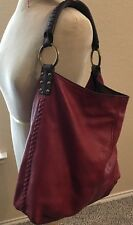 LUCKY BRAND VINTAGE INSPIRED EDITION LEATHER MAROON BROWN STUDS HOBO BAG