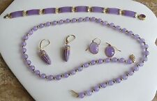 Lavender Jade 14k Gold Necklace bracelet earrings vintage estate 6 piece  set
