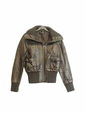MISO GIRLS/ LADIES DARK BROWN FAUX LEATHER JACKET SIZE UK 8 EU 36  (D-113)