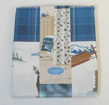 NEW St Nicholas Square CHRISTMAS CABIN SHOWER CURTAIN Fabric Ski NORTHWOODS