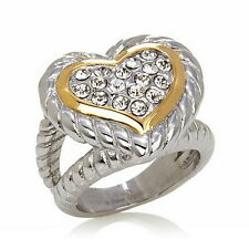 Emma Skye Jewelry Designs Pavé Crystal Heart Stainless Steel 2-Tone Cable Ring 6