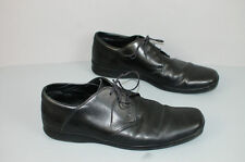 Ermenegildo Zegna black leather oxford lace up men shoes sz 8.5 EE
