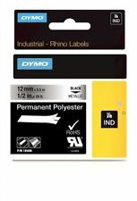 "DYMO 18486 RhinoPro Permanent Tape 1/2"" Black/Silver - Authorized Dymo Dealer"