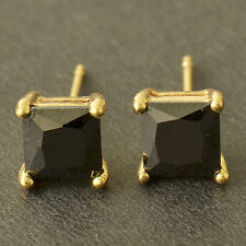 Yellow Gold Filled Black Onyx Mens Square couple Fashion small Stud Earrings LOT