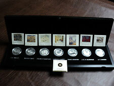 Canada Group Of Seven Fine Silver Coin Collection in Black Maple Wood Case