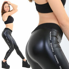 Blanche fashion inscription brillance noir wetlook Leggings super fines tissu
